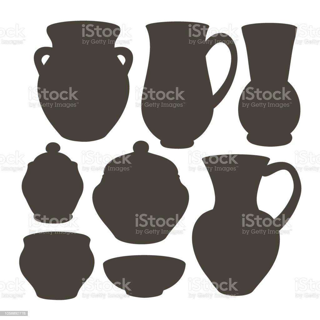Rustikale Keramik Geschirr Stock Vektor Art Und Mehr Bilder Von Alt Istock