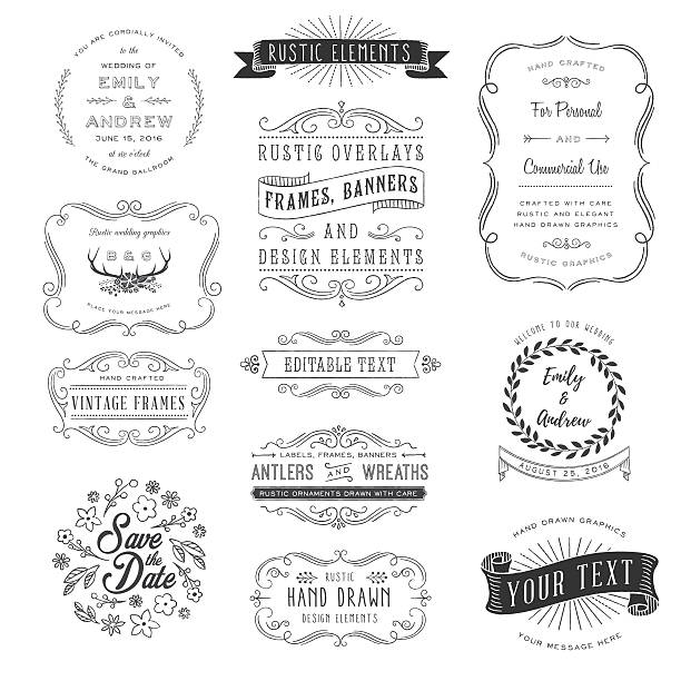 rustic clipart set - architecture borders stock illustrations