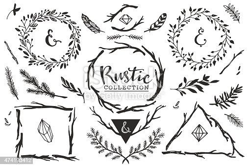 Hand drawn vintage vector design set.