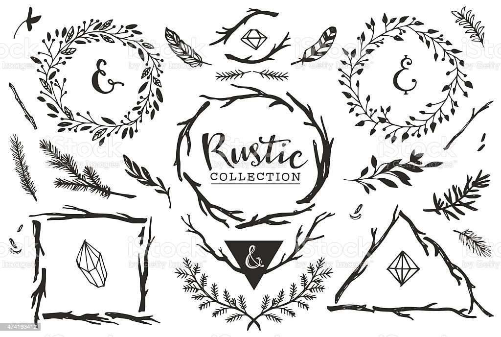 Rustic decorative elements with lettering. vector art illustration