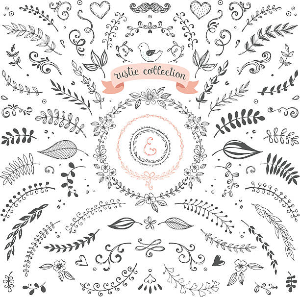Rustic Design Collection Rustic hand sketched elements. Floral doodles, laurels, graphic elements, banners and frames for use in your logos, branding and design projects. Good for greeting cards, wedding invitations and scrapbook. Vector illustration. bird borders stock illustrations