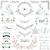 Rustic floral design elements. Hand drawn compositions with decorative flowers, leaves and branches. Vector illustration.