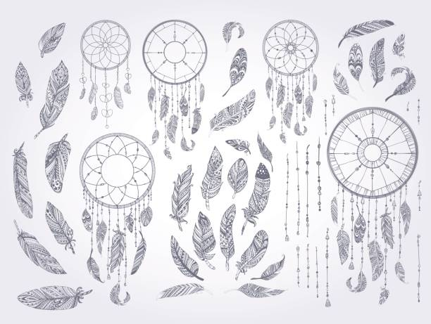 Rustic Ethnic decorative feathers. Rustic Ethnic decorative feathers. Hand drawn vintage vector design set. Black and white ink sketch illustration. Vintage Tribal and Decorative feathers. dreamcatcher stock illustrations
