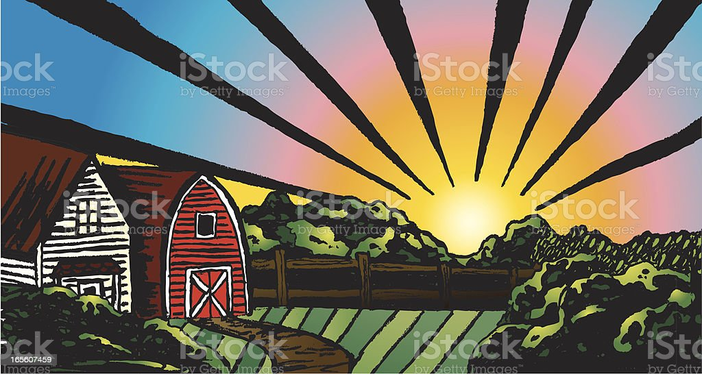 Rustic Farm Scene royalty-free rustic farm scene stock vector art & more images of agriculture