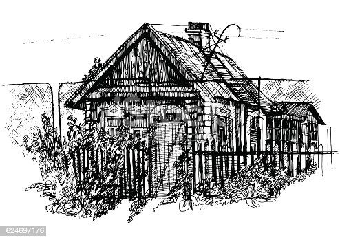 Houses in village, Countryside landscape, Hand drawn illustration sketch.