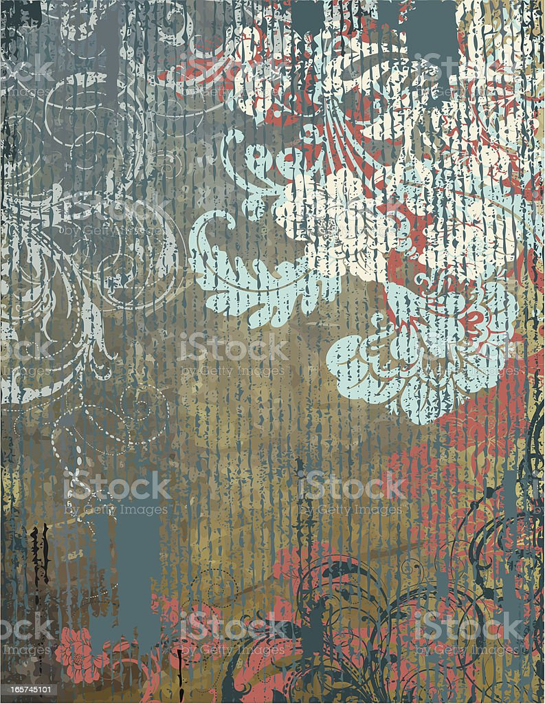 Rustic Floral Background scrollwork royalty-free stock vector art