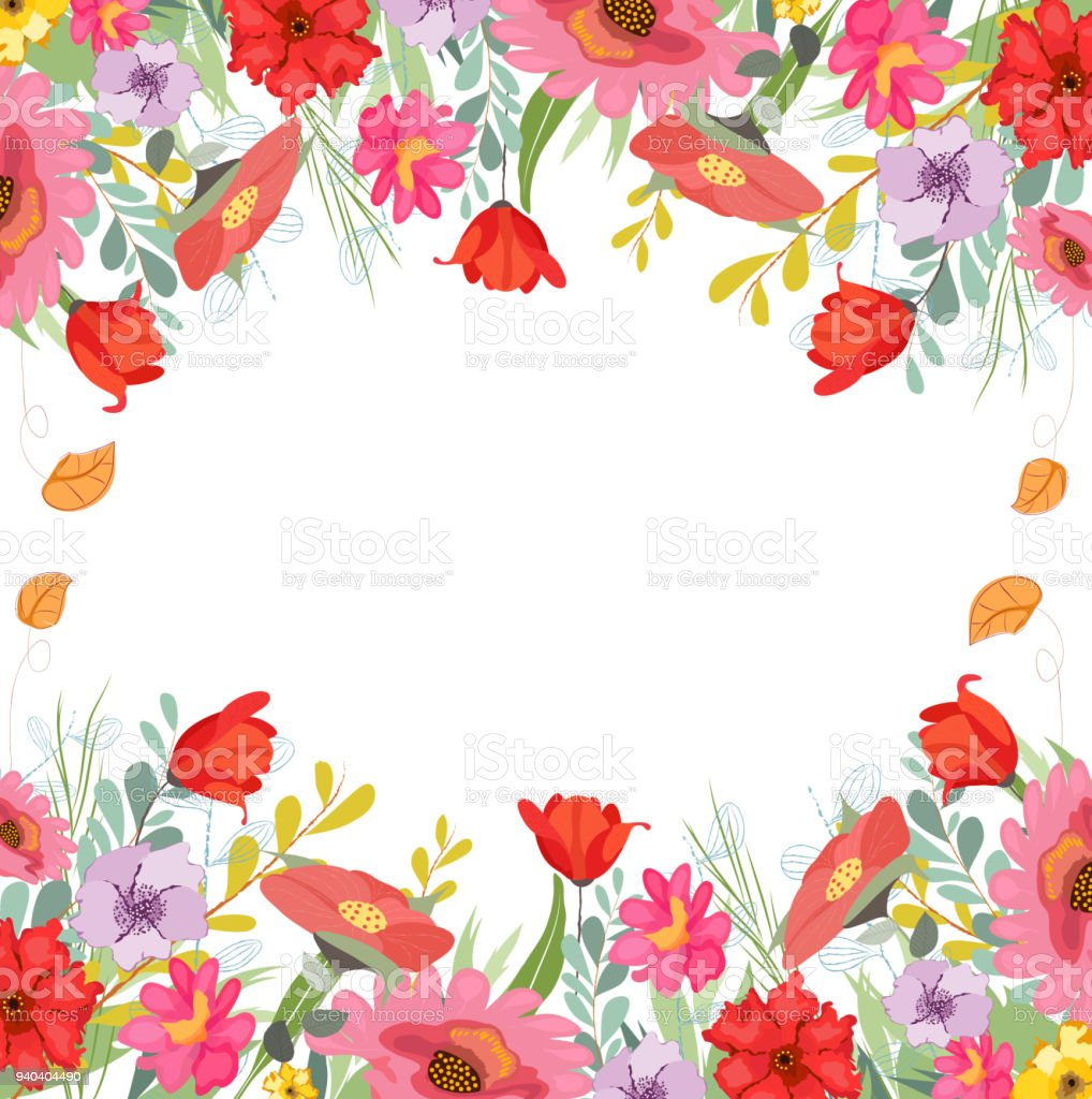Rustic floral cliparts. Pretty Flowers, wedding vector art illustration