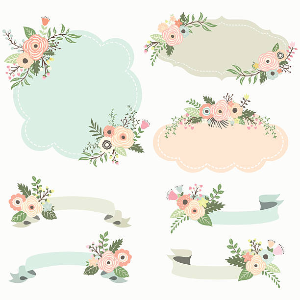 Rustic Floral Frame Elements Illustration Vector Art
