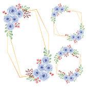Rustic floral frame watercolor rose flower arrangement for decoration element for greeting card decoration element and party stationary