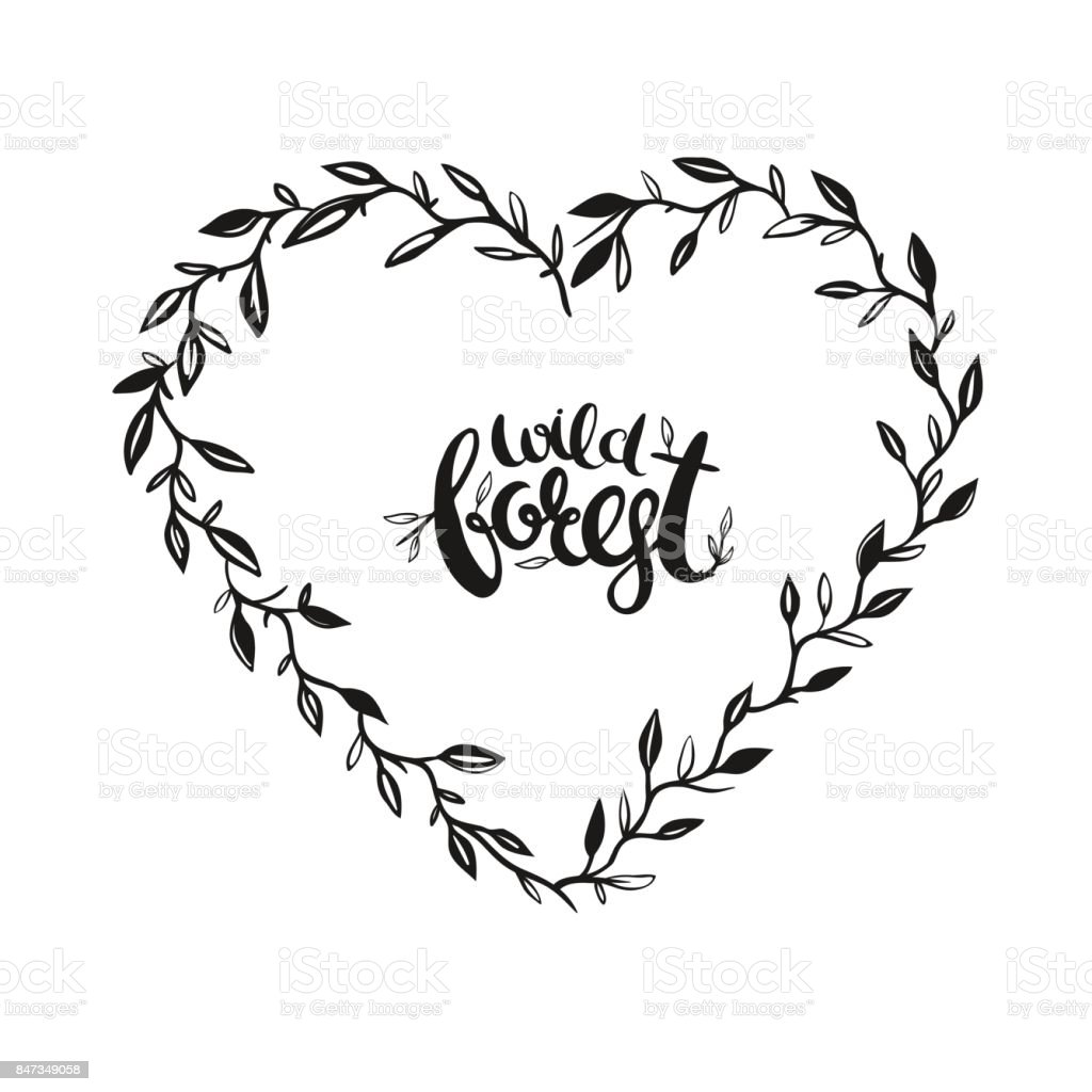 Rustic Floral Heart Shape Frame Royalty Free Stock Vector Art