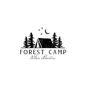 istock Rustic Forest Camp emblem Designs, Outdoor emblem, Adventure emblem template 1187087098