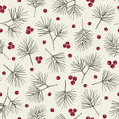 Hand Drawn Green Pine Tree and Red Berries Vector Seamless Pattern. Christmas Black Ink Line Drawing. Traditional Winter Holidays Background. Trendy Rustic Print.
