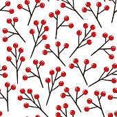 christmas branches and berries background
