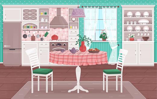 Rustic kitchen empty interior with appliances western wooden furniture
