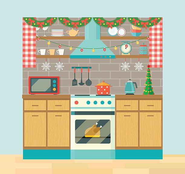 ilustrações de stock, clip art, desenhos animados e ícones de rustic kitchen interior, christmas tree, holiday decorations. vector flat illustration - christmas cooking