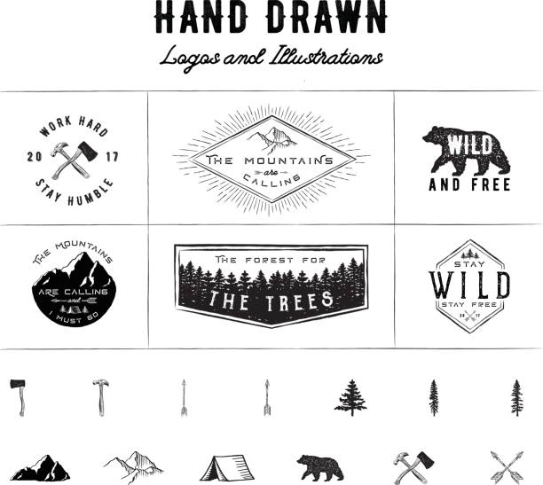 Rustic Logos and Illustrations vector art illustration