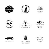 Set of 9 rustic logo templates. Designs for the outdoors and nature