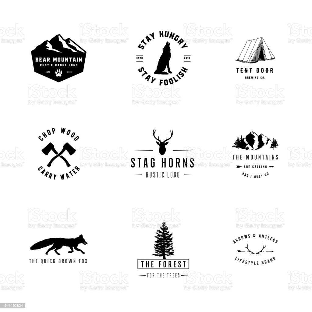 Rustic Logos vector art illustration