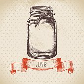 Rustic, mason and canning jar. Vintage hand drawn sketch design.