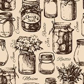 Rustic, mason and canning jar. Vintage hand drawn sketch seamles