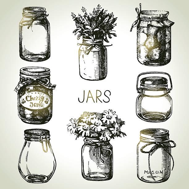 rustikal, mason und canning gläser hand drawn set. skizze design - glasblumen stock-grafiken, -clipart, -cartoons und -symbole