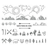 Huge set of rustic monoline icon designs depicting nature and the great outdoors.