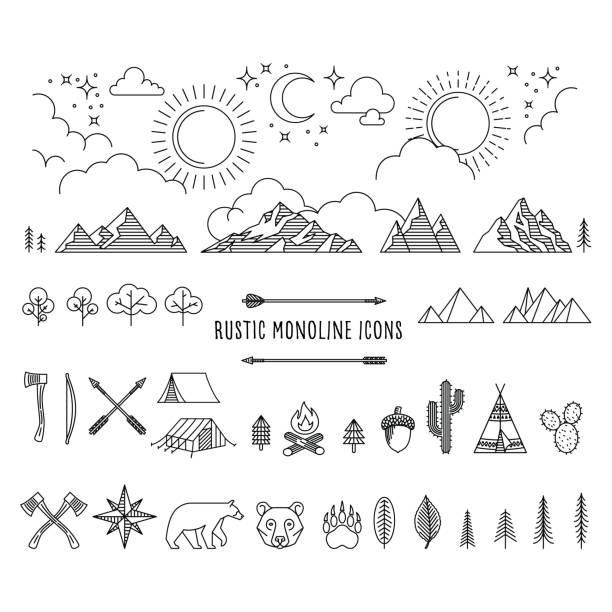 ilustrações, clipart, desenhos animados e ícones de conjunto de linha única rústico - exterior