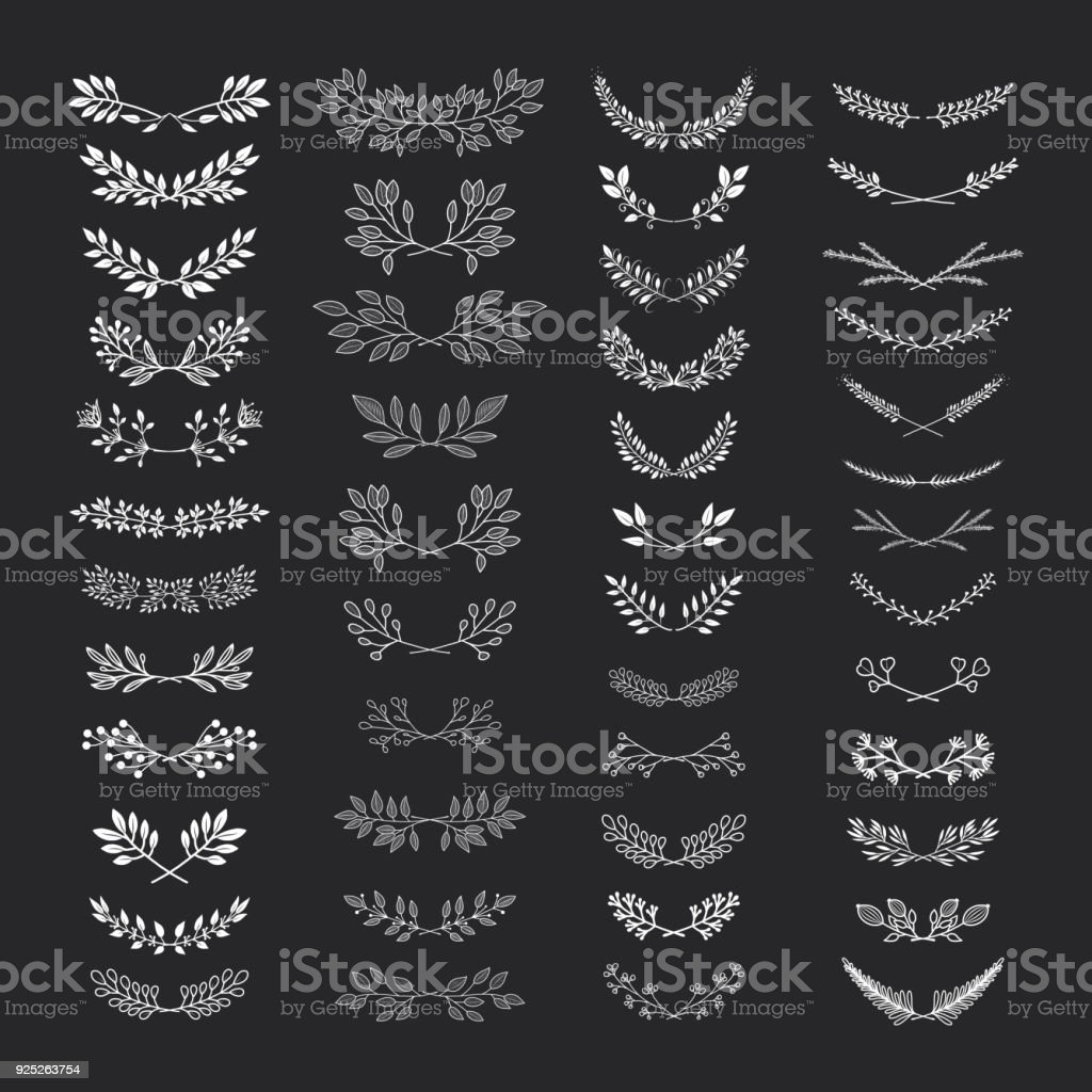 Rustic nature elements vector art illustration