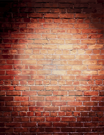 Vector illustrationRustic old fashioned brick wall background. Poster design or invitation template, easy to edit on separate layers. Includes spot light and strings with lot's of texture on a textured brick wall. Perfect for comedy night, entertainment, stage show, theatrical show, special improv comedy night, wedding invite, event invite.