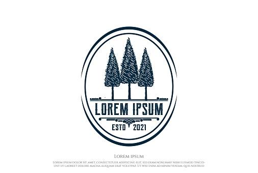 Rustic Pine Cedar Evergreen Fir Hemlock Cypress Larch Spruce Trees Forest emblem Design Vector