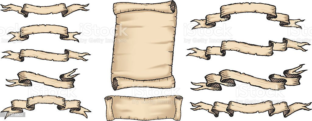Rustic Pirate Banners & Scrolls royalty-free stock vector art