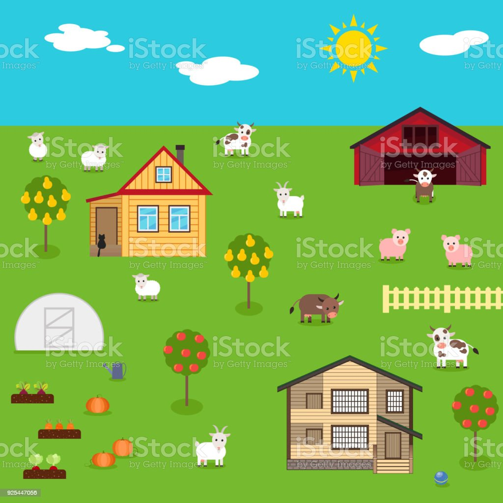 Rustic Plot With House Vegetable Garden And Farm Livestock Royalty Free