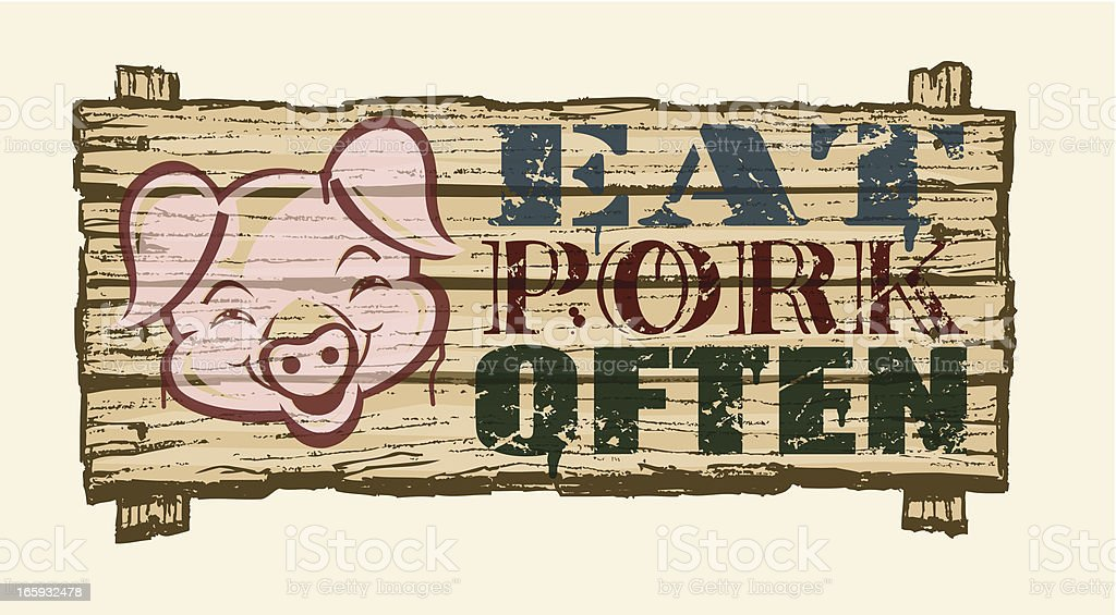 Rustic Pork or Barbeque Sign on Wood royalty-free stock vector art