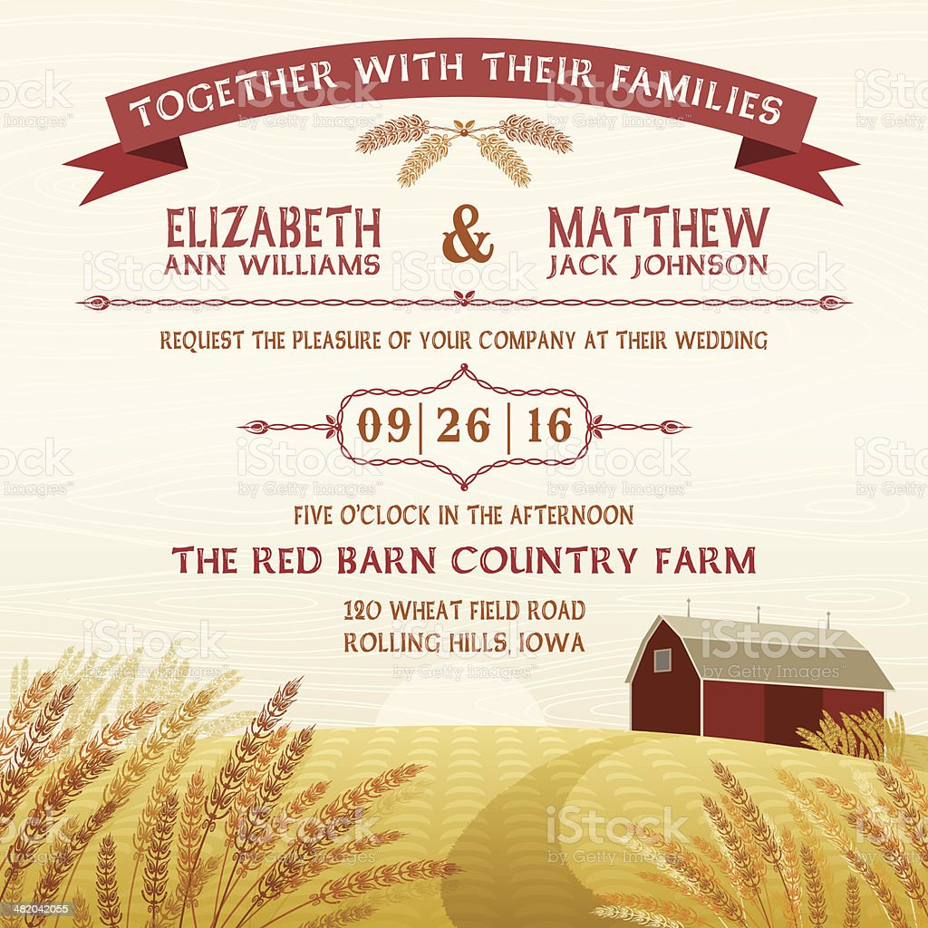 Rustic Red Barn Invitation vector art illustration