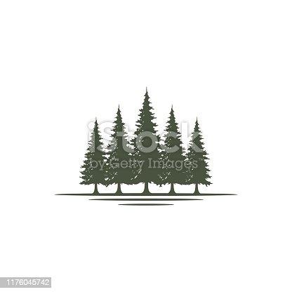 istock Rustic Retro Vintage Evergreen, Pines, Spruce, Cedar trees design 1176045742