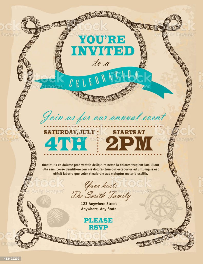 Rustic Rope nautical or country frame invitation design template vector art illustration