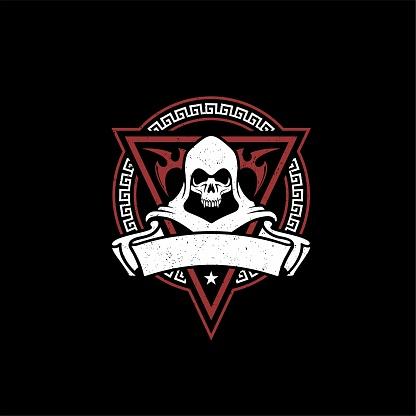 Rustic Skull Emblem for Game or Motor Club design