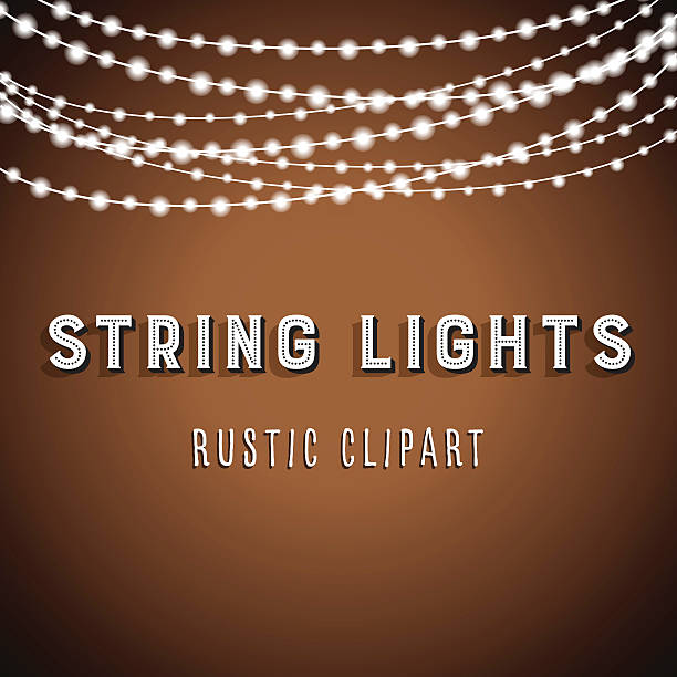 rustic string lights background - light strings stock illustrations, clip art, cartoons, & icons