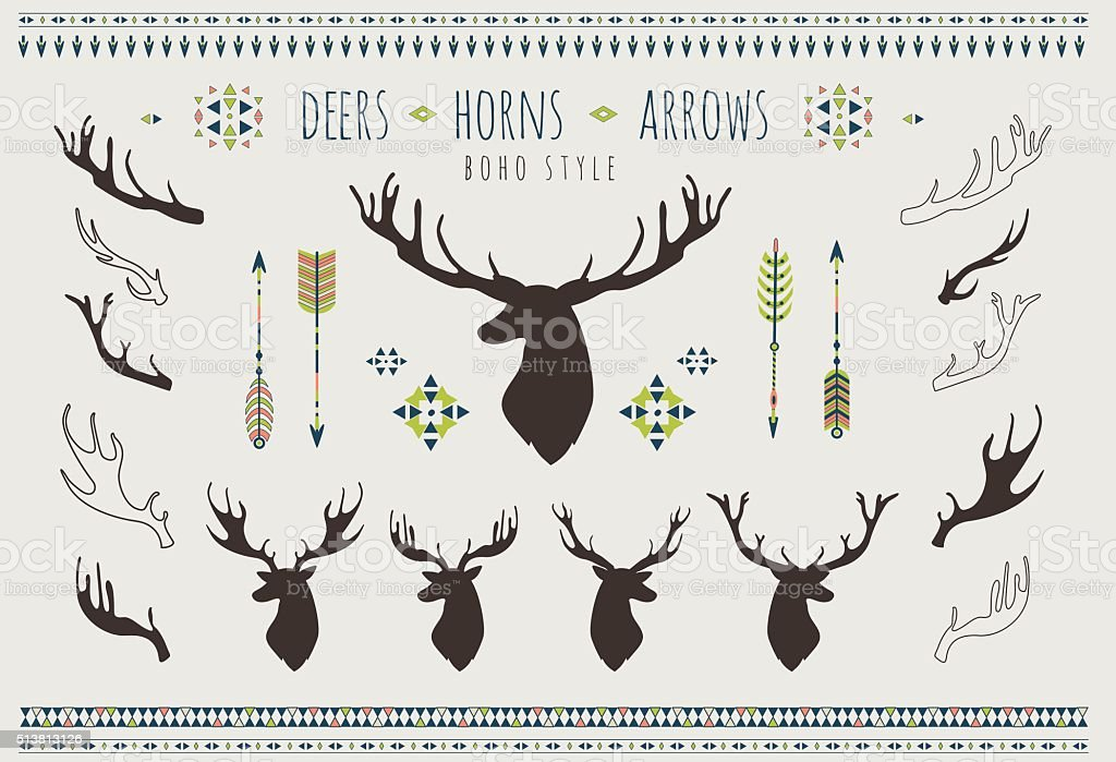 Rustic Tribal Antlers Arrows Navajo American Isolated Elements Aztec