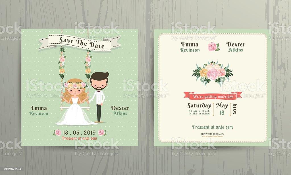 Rustic Wedding Cartoon Bride And Groom Couple Invitation Card Royalty Free