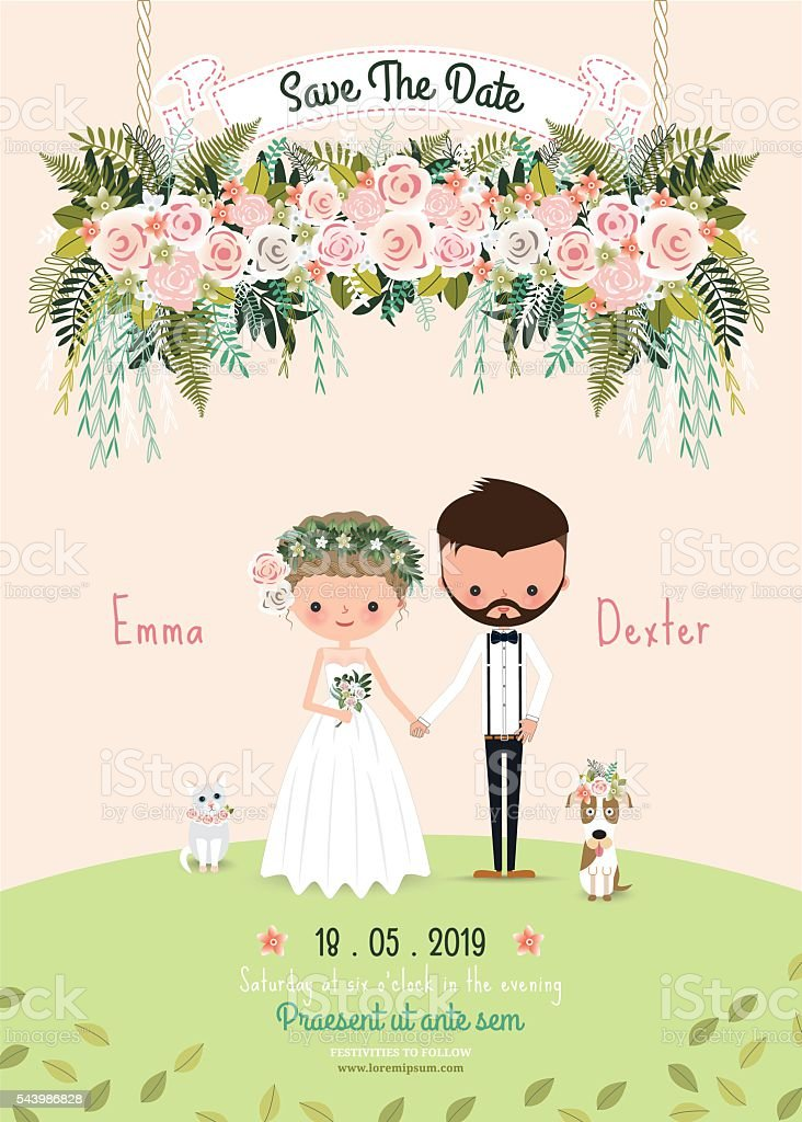 Rustic Wedding Couple Save The Date Invitation Card Floral Blossom Royalty Free
