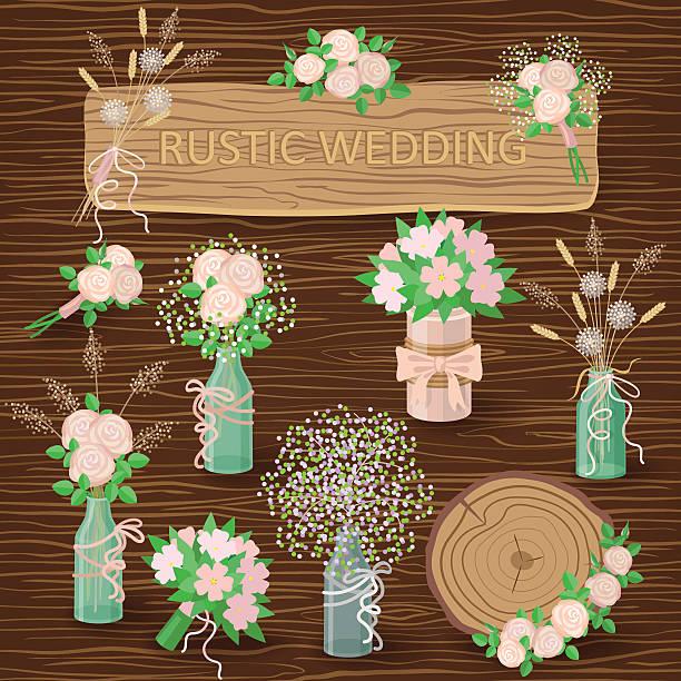 rustikale hochzeit dekorationen - glasblumen stock-grafiken, -clipart, -cartoons und -symbole