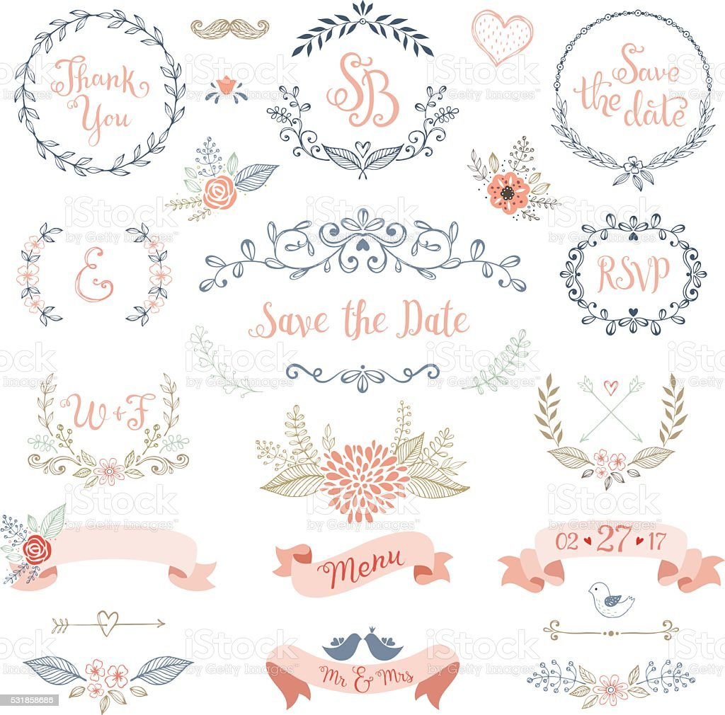 Rustic Wedding Design Set Royalty Free Stock Vector Art Amp