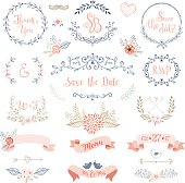 Rustic hand sketched wedding elements set. Floral doodles, leaves, branches, flowers, birds, laurels, banners and frames. Good for Save the Date cards and invitations, Wedding invitations, Thank You cards and RSVP cards. Vector illustration.