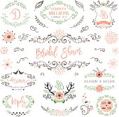 Hand drawn rustic Bridal Shower and Wedding collection with typographic design elements. Ornate motives, branches, wreaths, monograms, frames, antlers and flowers. Vector illustration.