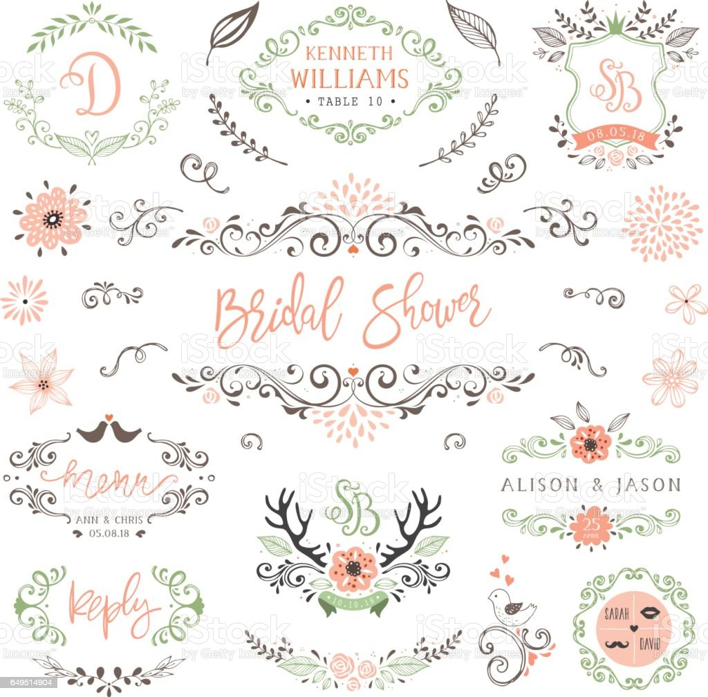 Rustic Wedding Elements_02 vector art illustration