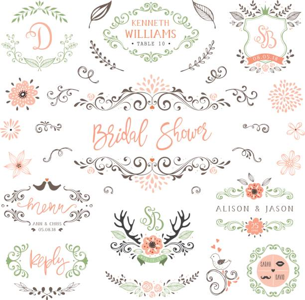 Rustic Wedding Elements_02 Hand drawn rustic Bridal Shower and Wedding collection with typographic design elements. Ornate motives, branches, wreaths, monograms, frames, antlers and flowers. Vector illustration. shabby chic stock illustrations