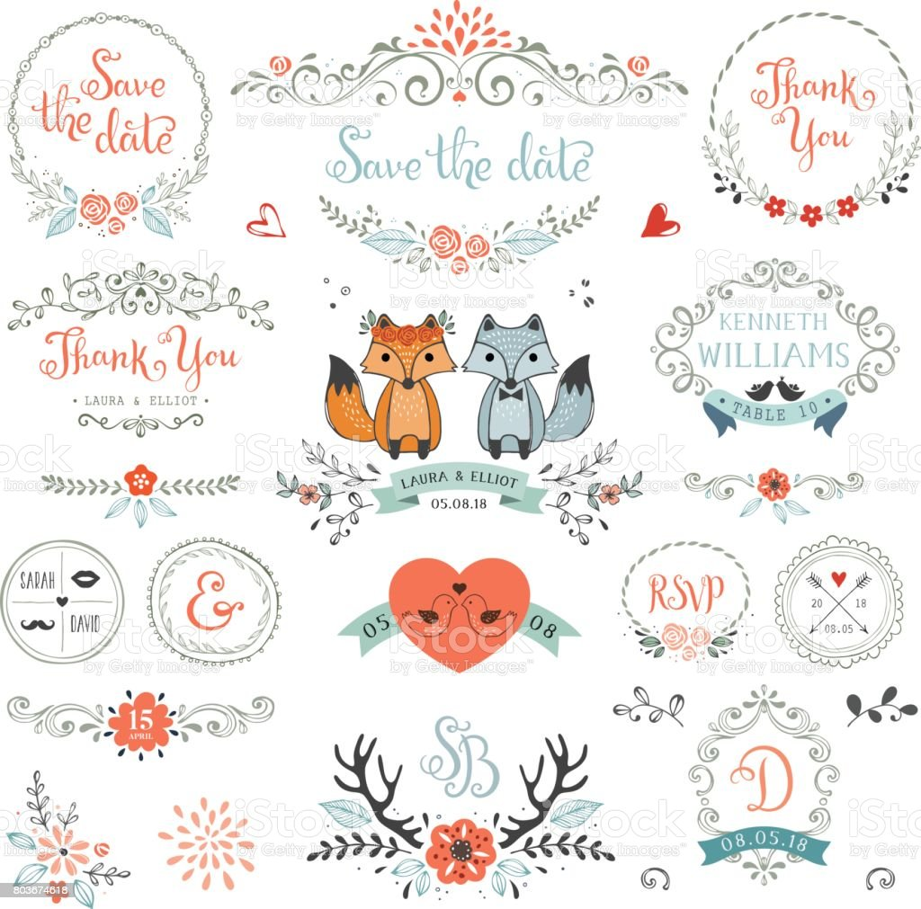 Rustic Wedding Elements_03 vector art illustration