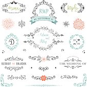 Hand drawn rustic Save the Date and Wedding collection with typographic design elements. Ornate motives, branches, wreaths, monograms, frames and flowers. Use for invitations, menu, thank you, reply, birthday and greeting cards. Vector illustration.