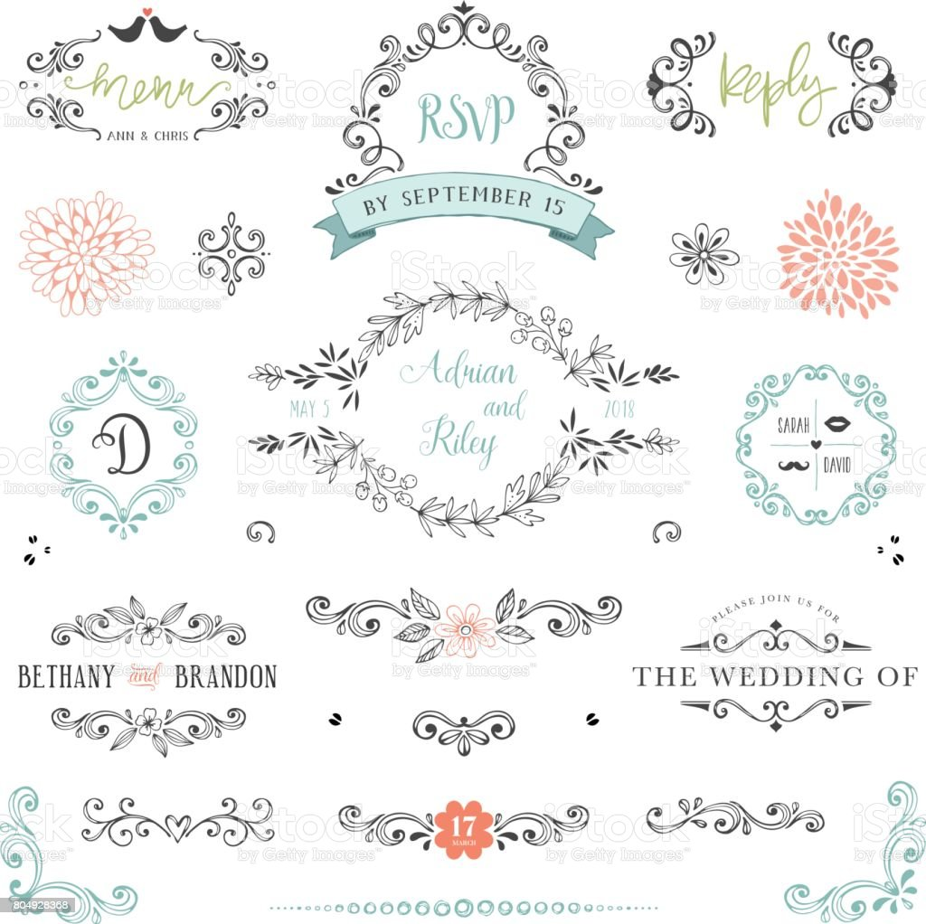 Rustic Wedding Elements_04 vector art illustration